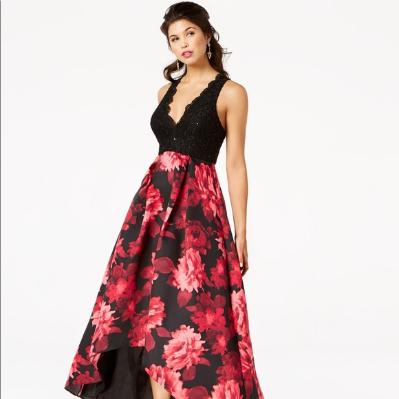 112cf45a02e Macy s Dresses   Skirts - Red Floral Sequined Evening Gown